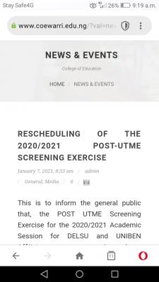 College of Education, Warri postpones Post-UTME screening exercise