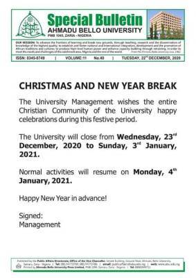 ABU issues notice on christmas and new year break