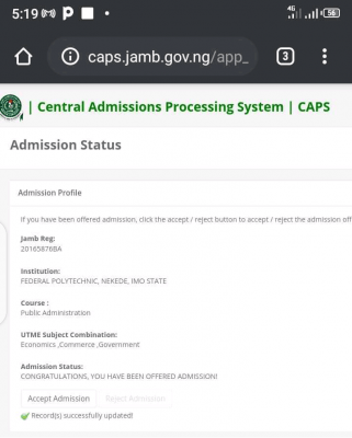 NEKEDEPOLY admission list, 2020/2021 out on JAMB CAPS