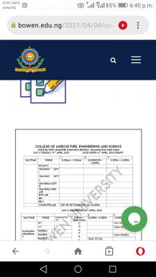 Bowen University 1st semester exam timetable for 100 level students, 2020/2021