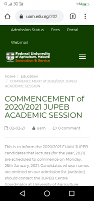 FUAM notice to JUPEB students on commencement of lectures for 2020/2021 session