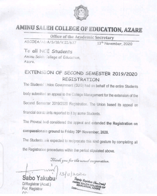 Aminu Saleh COE notice on extension of 2nd semester registration for 2019/2020 session