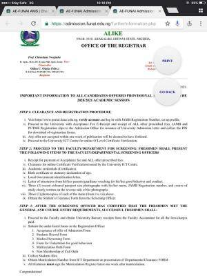 FUNAI Acceptance Fee Payment and Registration Procedure for 2020/2021 session