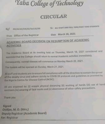YABATECH notice on resumption of academic activities