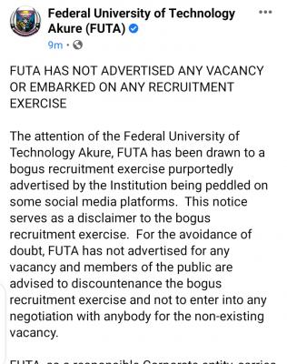 FUTA debunks news on recruitment exercise