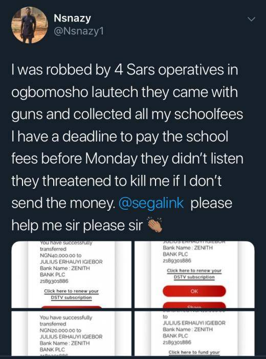 SARS Forces LAUTECH Student To Transfer School Fee To Them