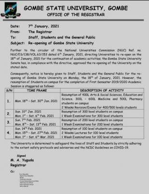 Gombe State University announces resumption of academic activities