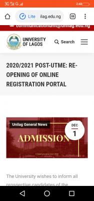 UNILAG reopens 2020 Post-UTME registration portal