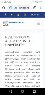 Bingham University notice on resumption of academic activities