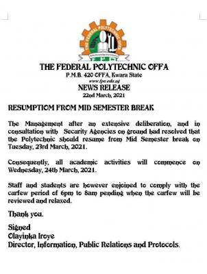 OFFAPOLY announces resumption from mid-semester break