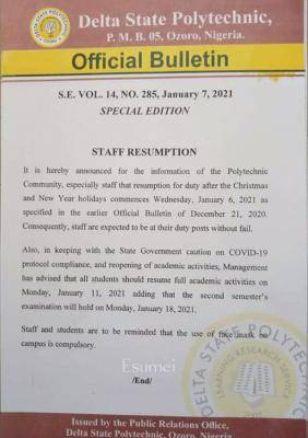 Delta State Polytechnic, Ozoro notice to staff and students on resumption
