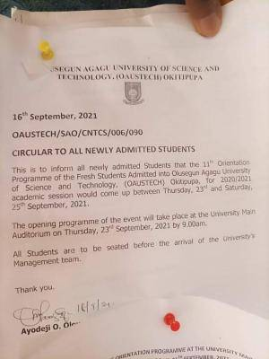 OAUSTECH orientation notice to fresh students