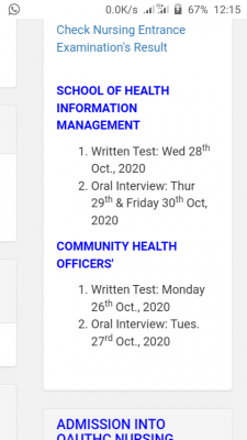 OAUTHC school of health entrance exam dates for 2020/2021 session