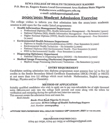 ECWA College of Health, Kagoro admission form for 2020/2021 Session