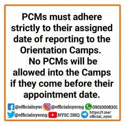 NYSC Notice to corps members posted to Lagos and Abuja