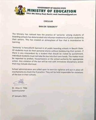 Bauchi State Ministry of Education Bans Senority in Secondary Schools
