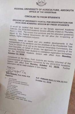 FUNNAB notice on re-opening of registration portal for 2019/2020 fresh students
