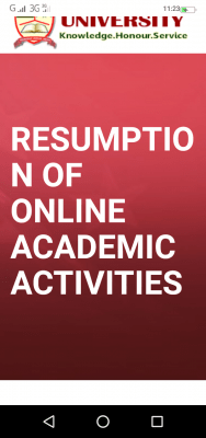 EKSU notice on resumption of online academic activities