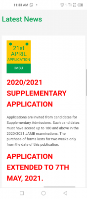 IMSU extends application deadline for supplementary admission, 2020/2021