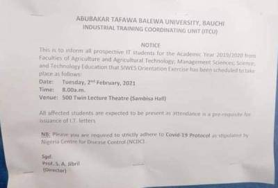 ATBU notice to prospective IT students