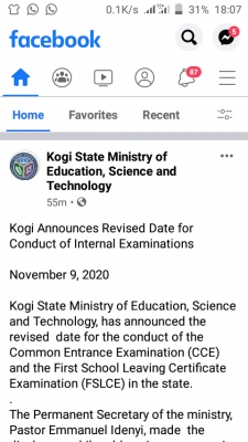 Kogi State announces revised date for conduct of internal examinations