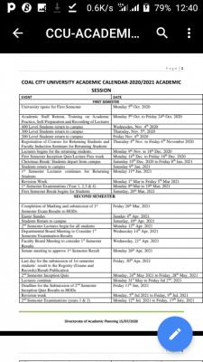 Coal City University academic calendar for 2020/2021 academic session