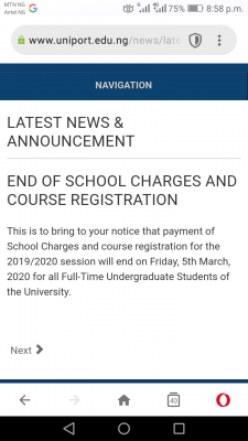 UNIPORT notice on end of school charges and course registration, 2019/2020