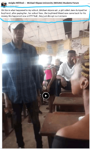 MOUAU Student Fights Girlfriend in Front of Schoolmates Over ₦20K