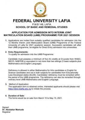FULafia IJMB admission form for 2020/2201 session