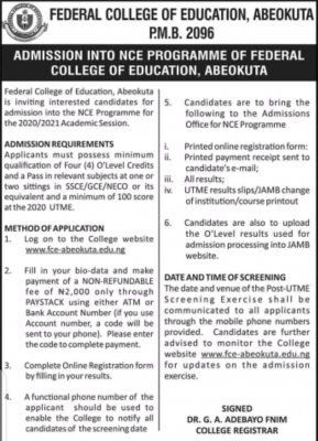 FCE Abeokuta Post-UTME (NCE) 2020: Eligibility and Registration Details