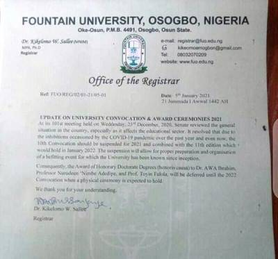 Fountain University notice on suspension of convocation ceremony for 2021