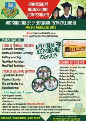 KSCOE (Tech.) Kabba admission form for 2020/2021 session