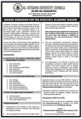 Al-Istiqamah University, Sumaila announces 2020/2021 maiden admission