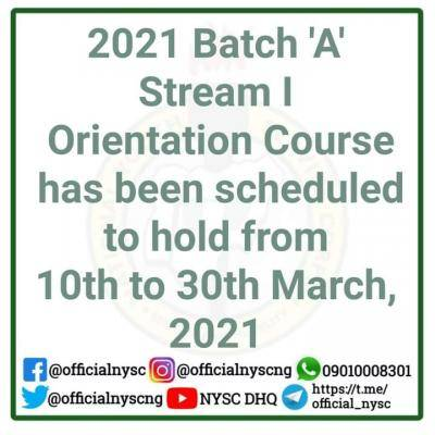NYSC announces 2021 batch