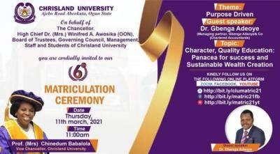Chrisland University matriculation ceremony