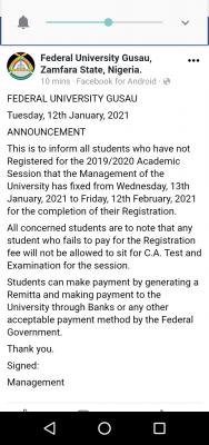 Federal University, Gusau notice to students on 2019/2020 registration deadline