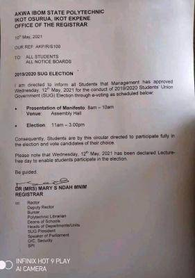 Akwa Poly notice on SUG elections, 2019/2020