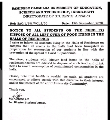 Bamidele Olumilua University of Education, Ikere notice to students occupying halls of residence