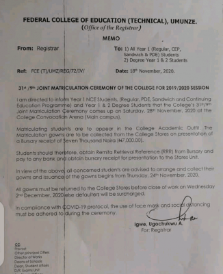 FCE (Tech.) Umunze notice on 31st/9th joint matriculation ceremony for 2019/2020 session