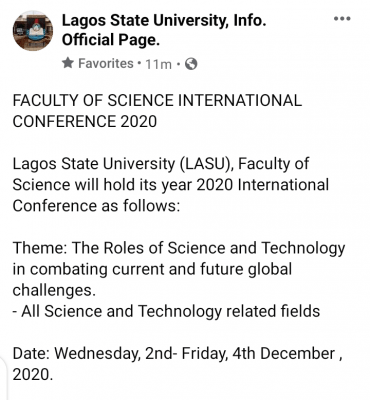 LASU Faculty of Science holds 2020 International Conference