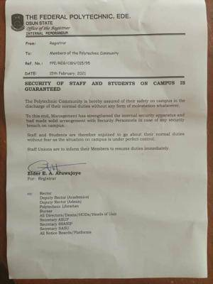 Ede Poly assures staff and students of security on campus