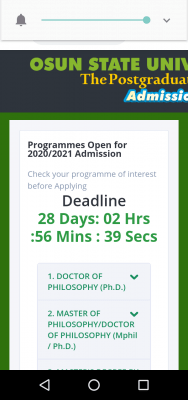 UNIOSUN extends postgraduate registration deadline for 2020/2021 session