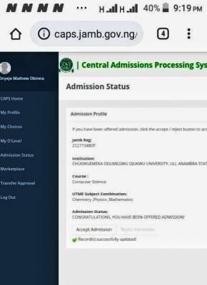 COOU 1st Batch Admission List, 2020/2021 now on JAMB CAPS