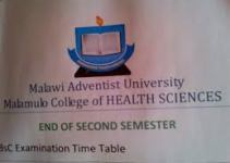 Malamulo College of Health Sciences Selection List