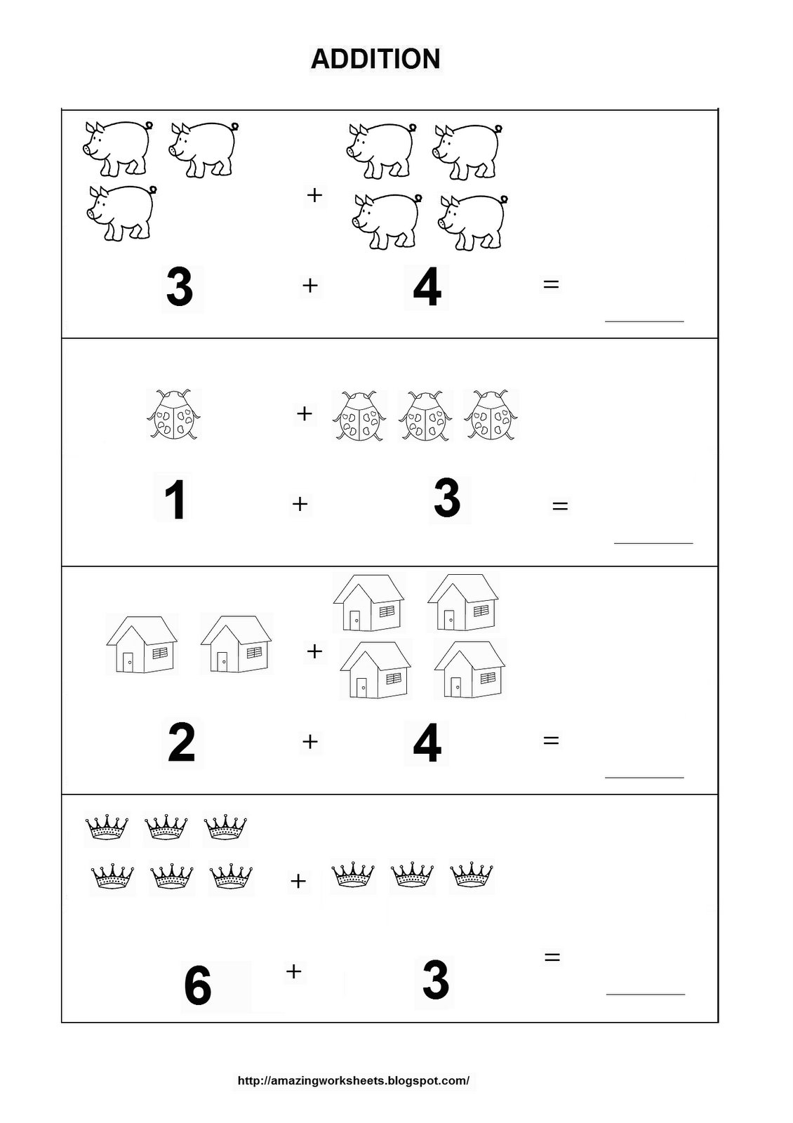 Kindergarten Math Worksheets Adding