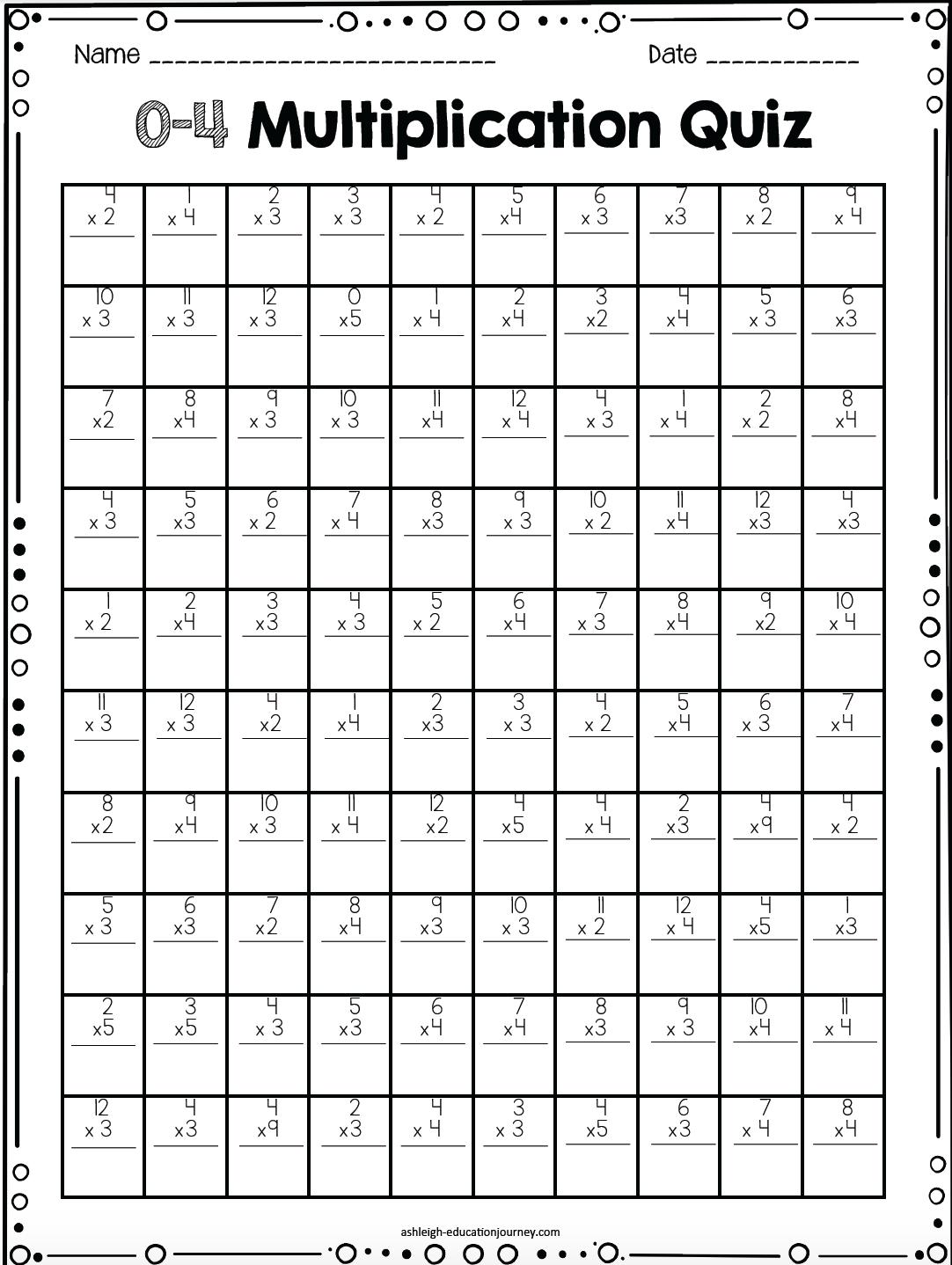 4th Grade Multiplication Practice Quiz
