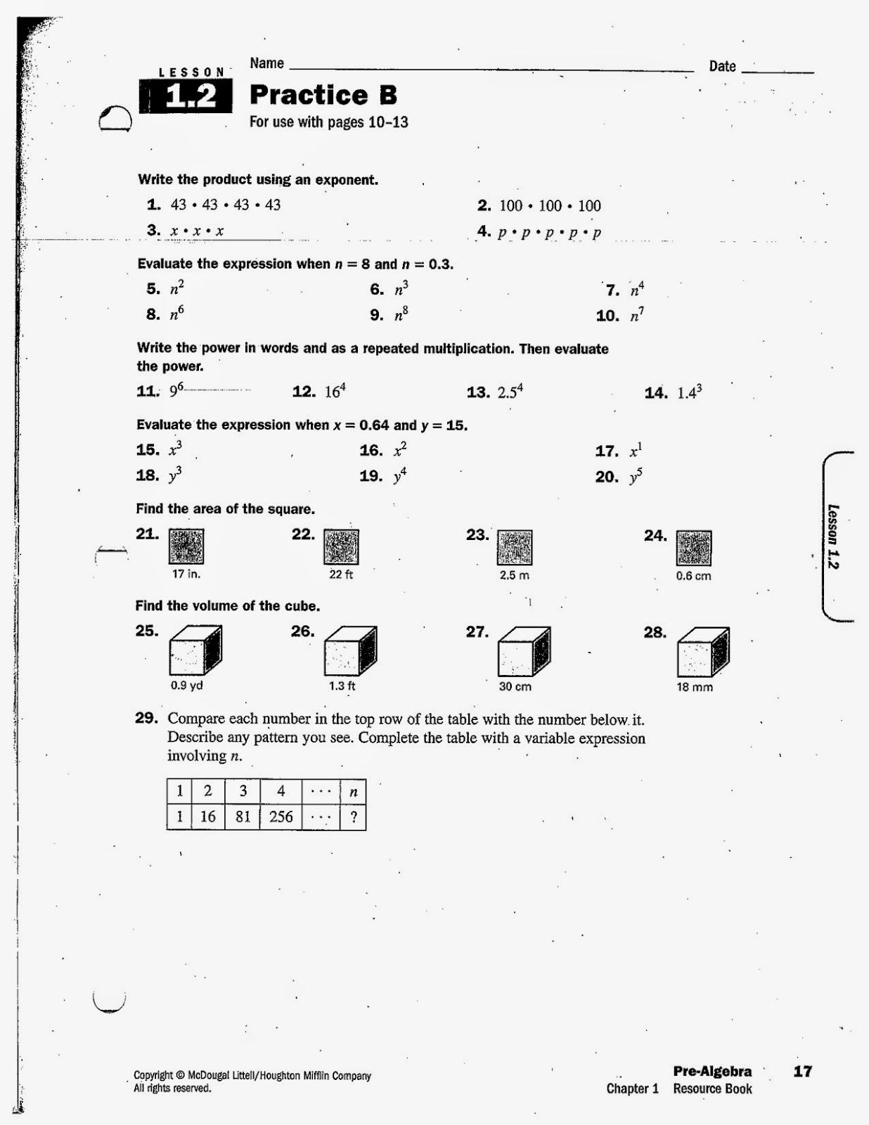 8th Grade Math Practice Worksheet