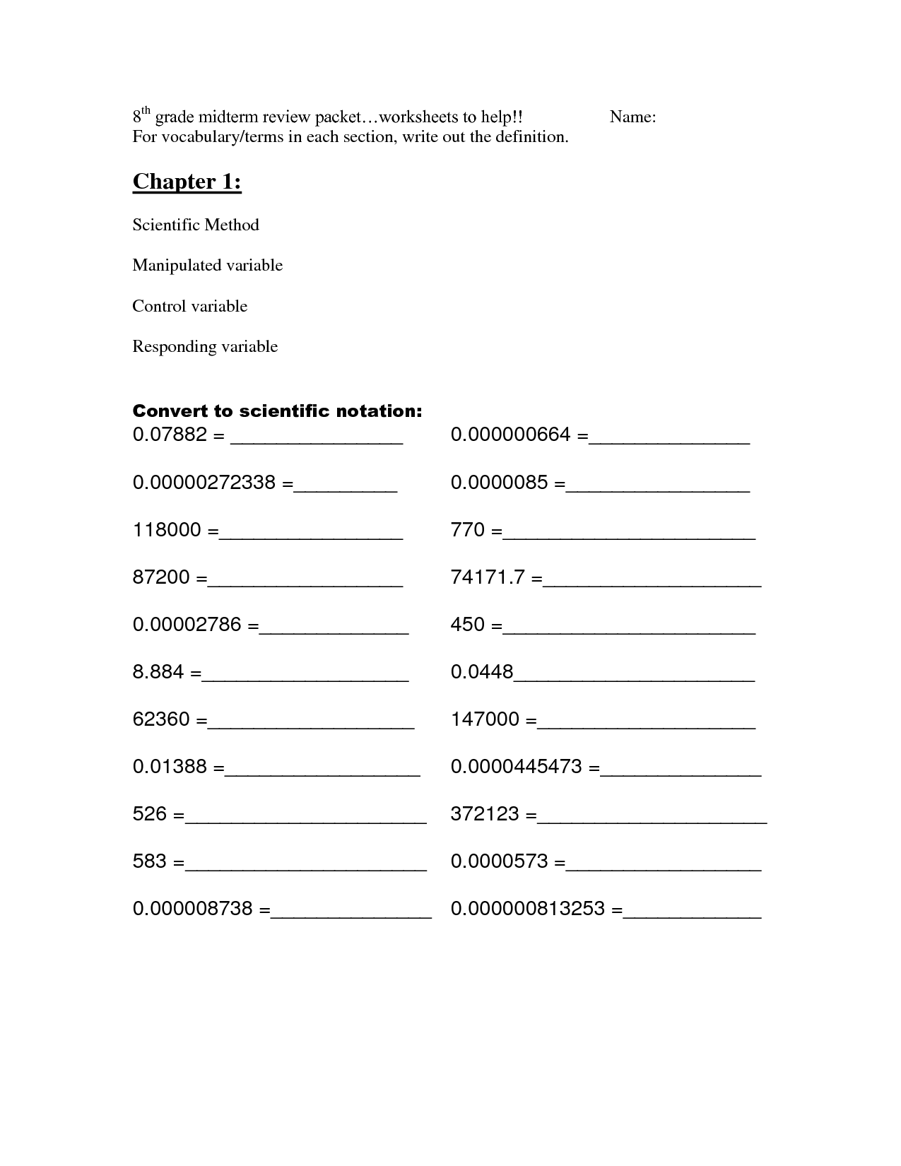 8th Grade Math Review Worksheets