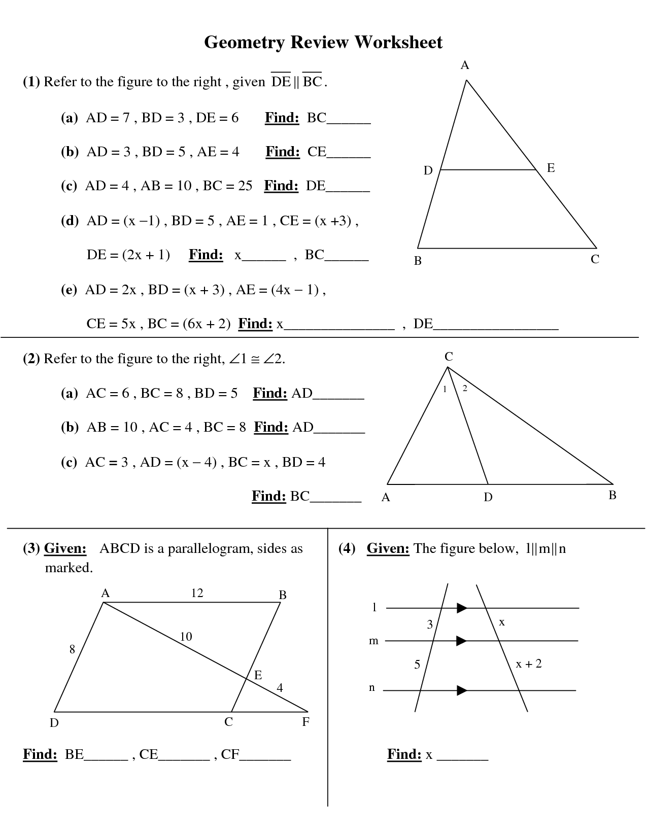 High School Geometry Worksheets Printable