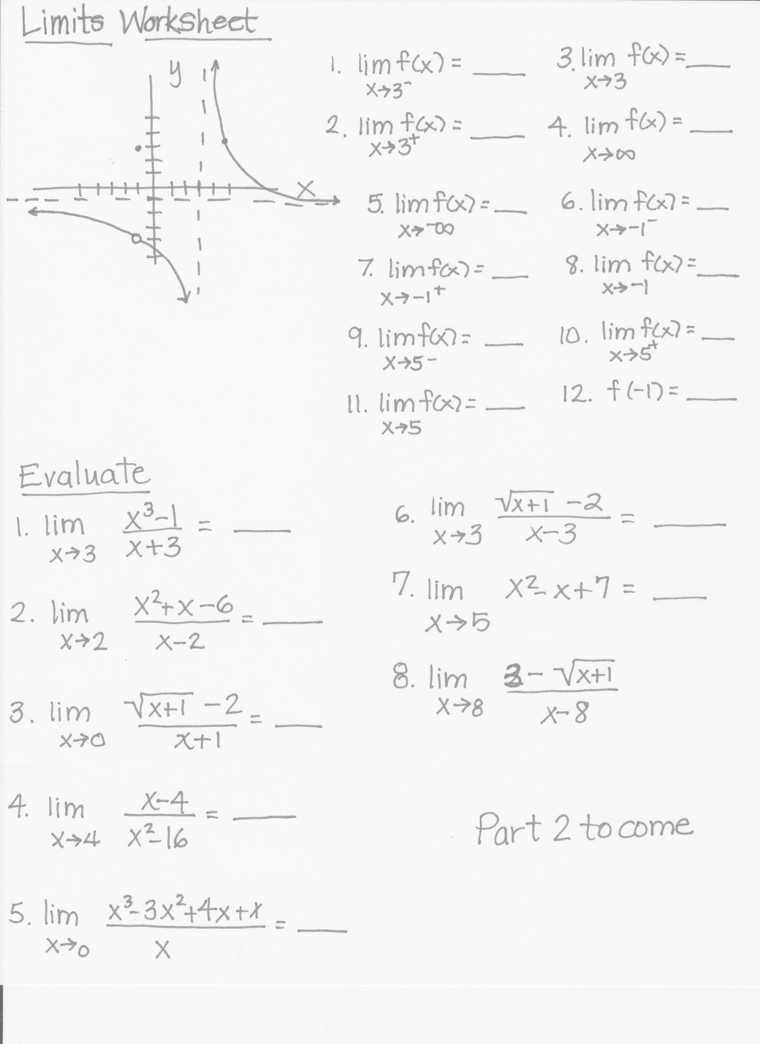 Limits Worksheet Printable